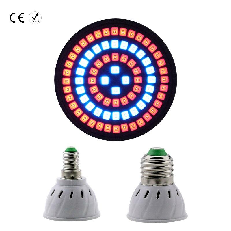 Full Spectrum Indoor plant growth lamp LED Bulb E27 48 60 80leds 2835 Energy Saving Spotlight Lights greenhouse hydroponics E14