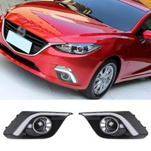 Lámpara LED de Guía Car styling DRL Para Mazda 3 Axela BM 2013 + 2014 2015 Daytime running light Fog lights Lámparas Auto Accesorios