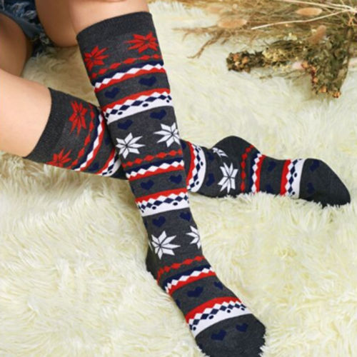 Women Girl Stripe Stripy Striped Over The Knee Thigh High Stockings Long Christmas Pattern Stockings For Girls