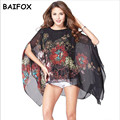 2017 New Hot Sale Blusas Fashion Print Pattern Chiffon Women Blouse Bat Sleeve Shirt Tops 5 Colors Blusa Feminina For Women Big