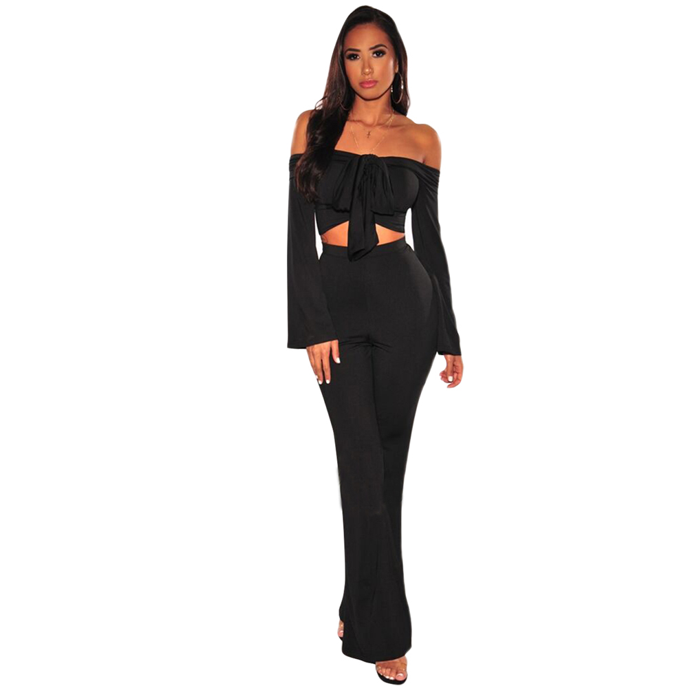 MQUPIN New Design 2pcs Black Tie Up Crop Top Wide Leg Pants Set Sexy Women Summer Street Cold Shoulder Elegant Femme Leggings