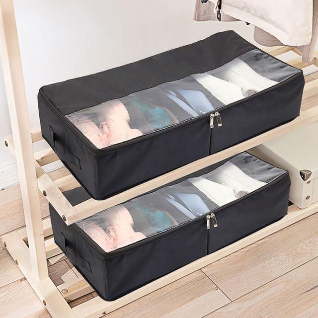 Caixa de Armazenamento de Sapato Visível lavável Multi-função Cueca Roupas Roupeiro Organizador de Inicialização saco De Armazenamento Duplo Zíper Dobrável
