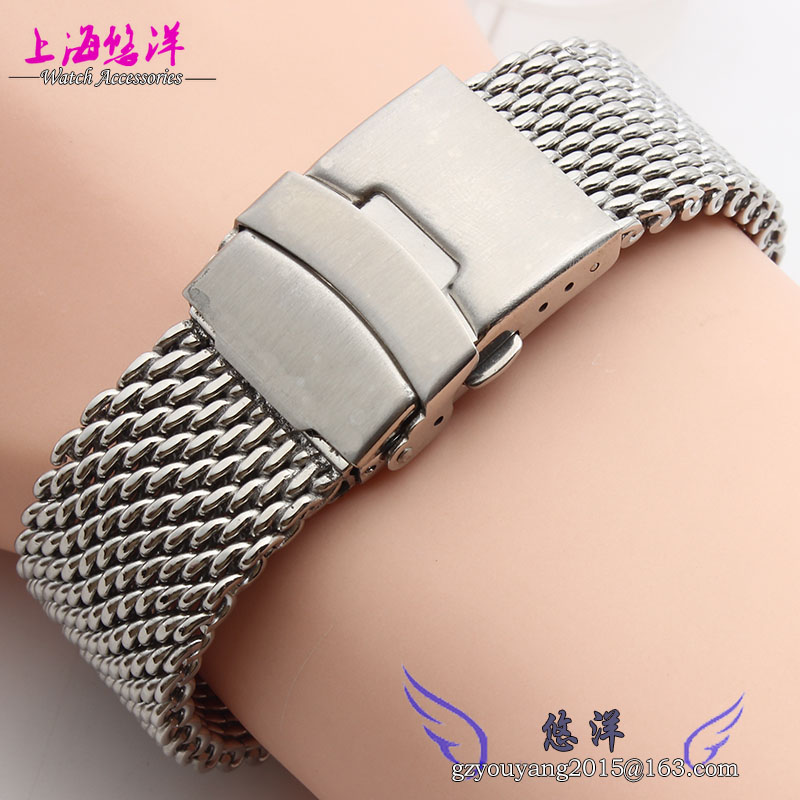 Watchbands 22mm 24mm Silver Solid Stainless Steel Mesh Bracelet Watch Mesh Band Diving Clasp Replacement Band