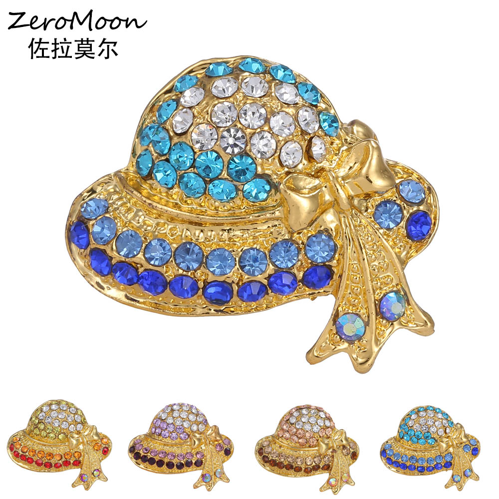 Ustar Fashion Hat Brooches For Women Pins Gold Color Blue: Aliexpress.com : Buy Fashion Flower Sun Hat Brooches