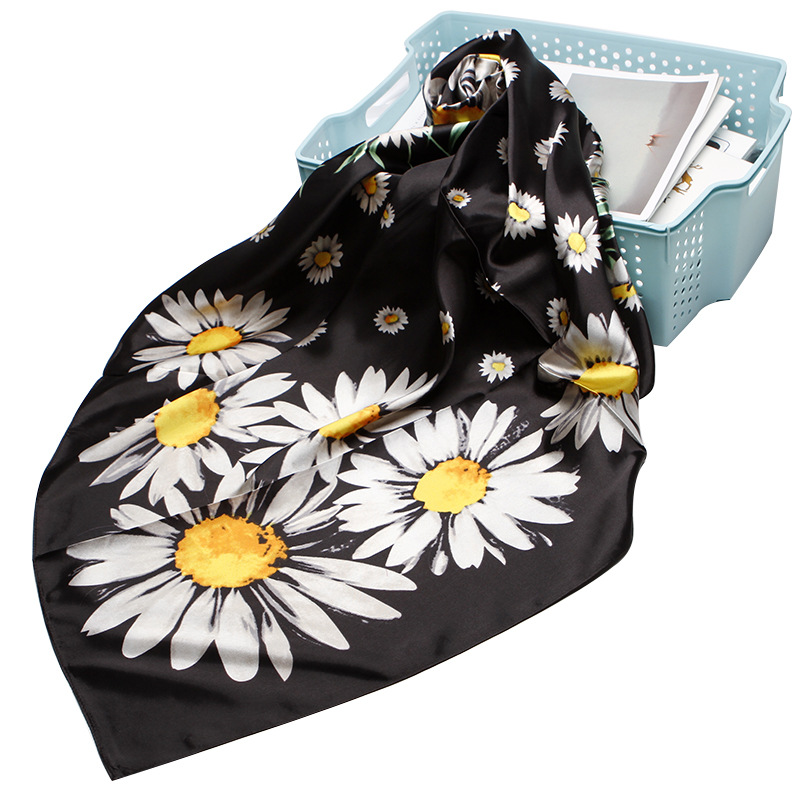 2019 Fashion Luxury Square Scarf Women Head Neck Shawl Hijab Sunflower Printed Black Bandana Kerchief Scarves Wraps 90*90cm