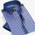 Лето Стиль Мужчины Клетчатую Рубашку Хлопок Короткий Рукав Рубашки повседневная Slim Fit Известная Марка Мода Плюс Размер 4XL Высокие качество