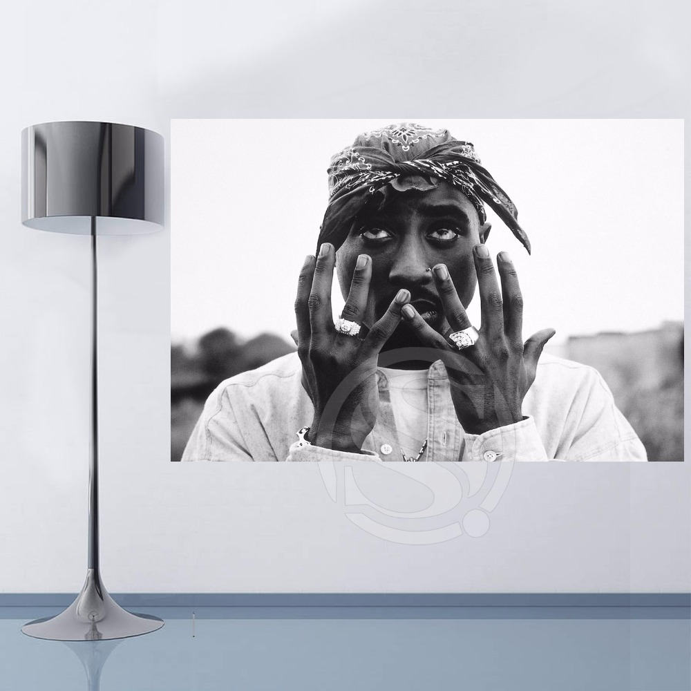 Top Selling Custom 2pac Tupac Amaru Canvas Painting Cloth Print DIY Fabric Poster Wall Silk