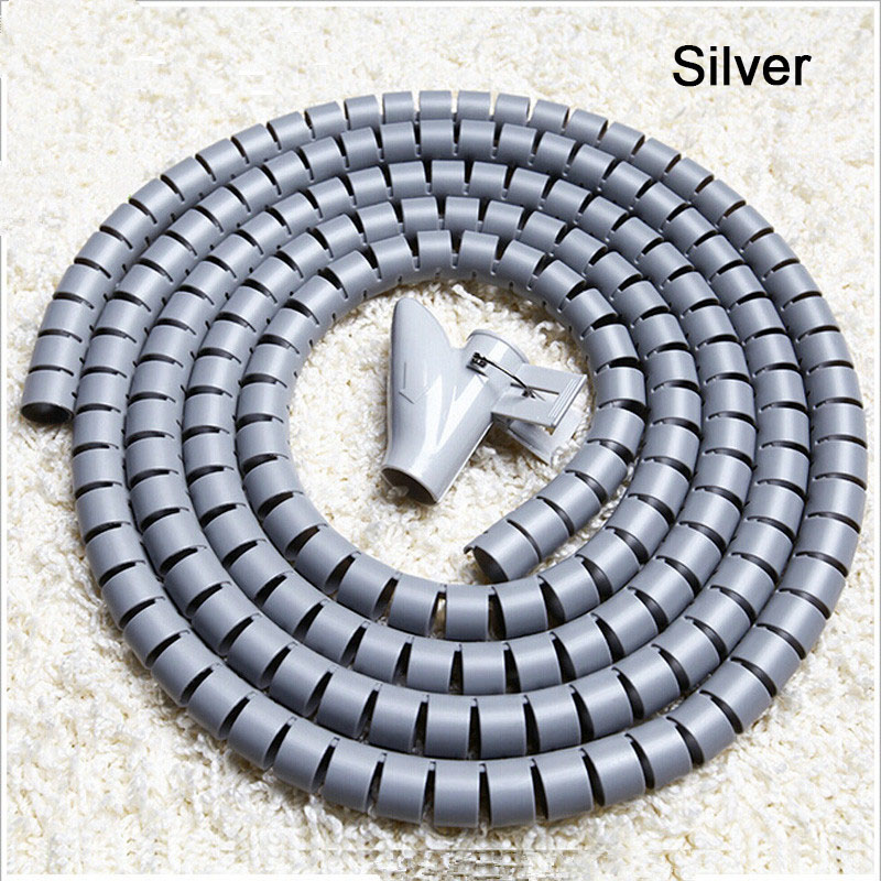 L1.5m D16/22/28mm Spiral Wire Organizer Cable Winder Wrap Tube Flexible Management Wire Storage for PC Computer Cord Protector 2m 20mm diameter spiral wire organizer wrap tube flexible manage cord for pc computer home bundling hiding cable w clip white