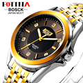 Fotina lujo marca bosck 2016 oro negro casual de negocios hombres reloj de cuarzo de acero inoxidable lleno de relojes a prueba de agua reloj de pulsera
