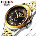 Fotina luxo marca bosck 2016 ouro preto completa de aço inoxidável assista homens de negócios casual relógios de quartzo relógio de pulso à prova d' água