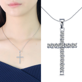Lucky Female Crystal Cross Pendants Silver Color Necklaces Bright Choker Necklaces Fashion Jewelry Gifts for Woman image