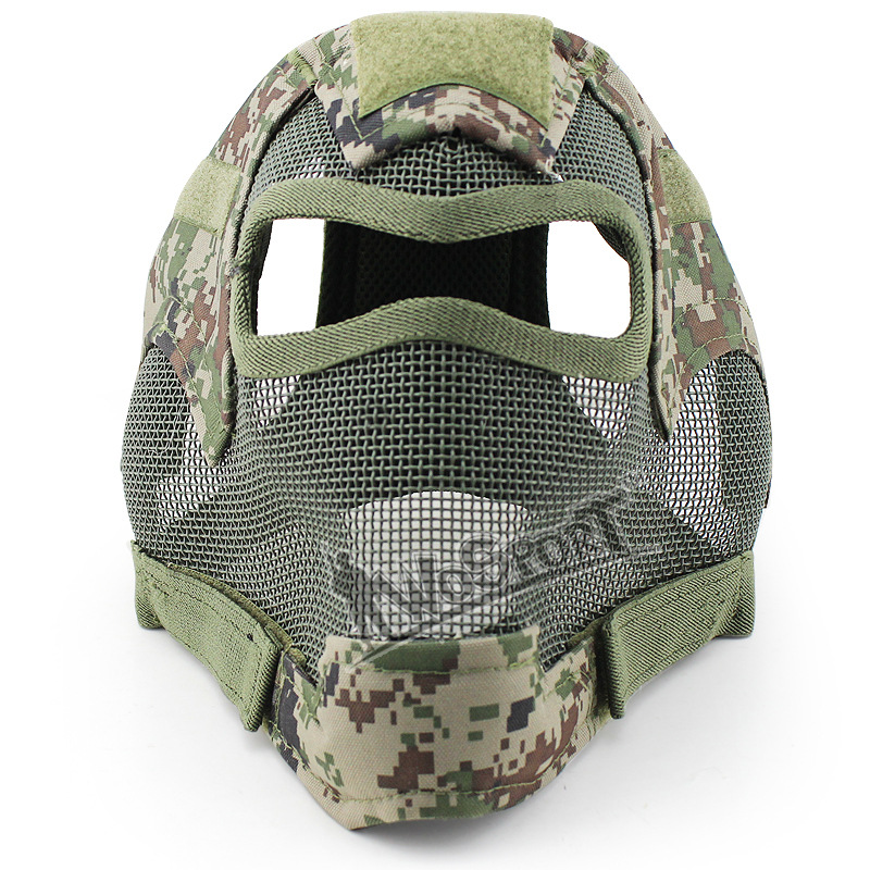 Wargame full face protection face steel mesh head safety helmet Airsoft Paintball BB Wargame head/face protector outdoor green paintball airsoft wire mesh full face protection templar mask cosplay wargame gear helmet free shipping