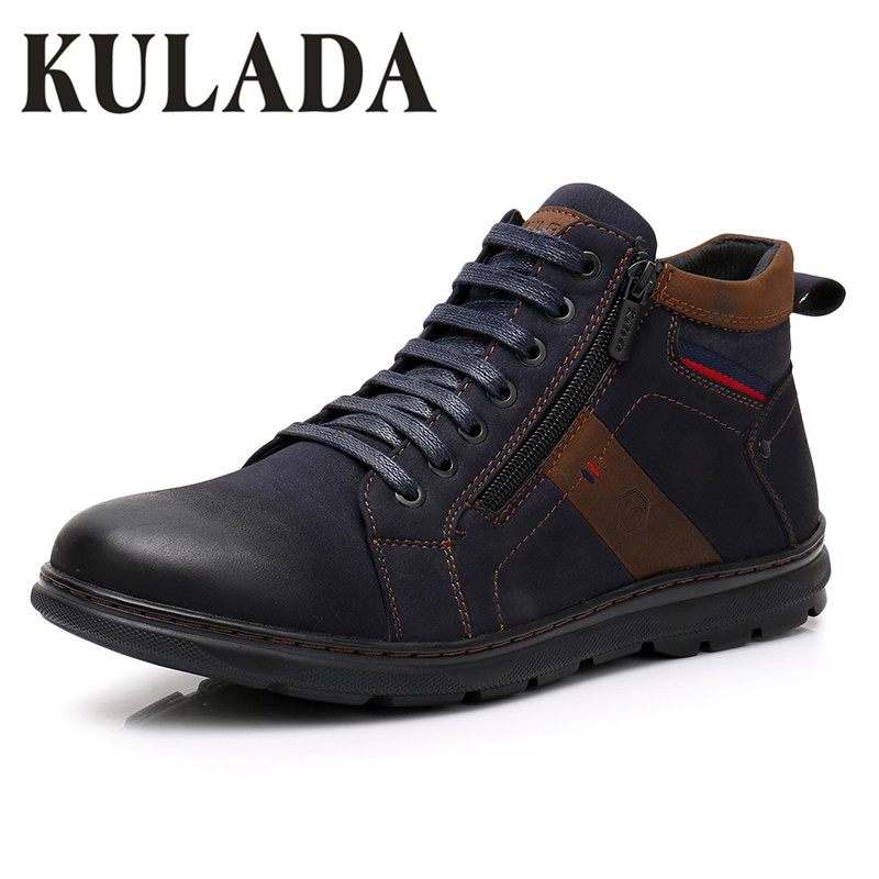 KULADA Newest Men Warm Casual Boots High Quality Leather Ankle Boots Men Lace-Up Shoes Double Side Zipper Boots Hombre