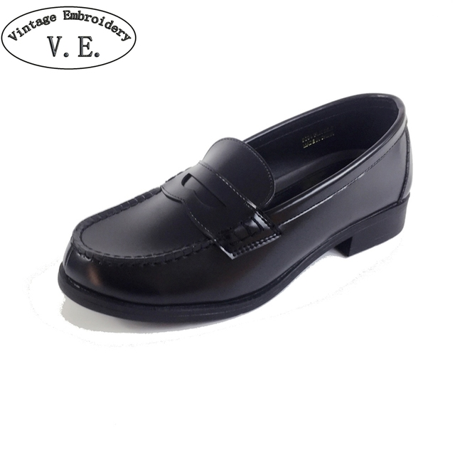 1209f444fb2 Women Unisex Japan Japanese School Student Uniform Shoes Uwabaki JK Round  Toe Oxforda Cosplay Flat Shoes Black   Brown