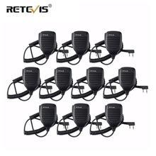 10pcs Walkie Talkie ลำโพงไมโครโฟนด้านข้าง PTT สำหรับ Kenwood Retevis RT21 RT22 H777 RT81 Baofeng UV5R 888S สำหรับ puxing สำหรับ HYT TYT