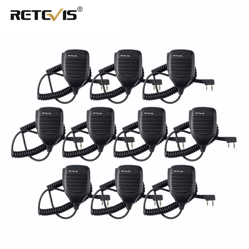 10pcs Walkie Talkie Speaker Microphone Side PTT For Kenwood Retevis RT21 RT22 H777 RT81 Baofeng UV5R 888S For Puxing For HYT TYT