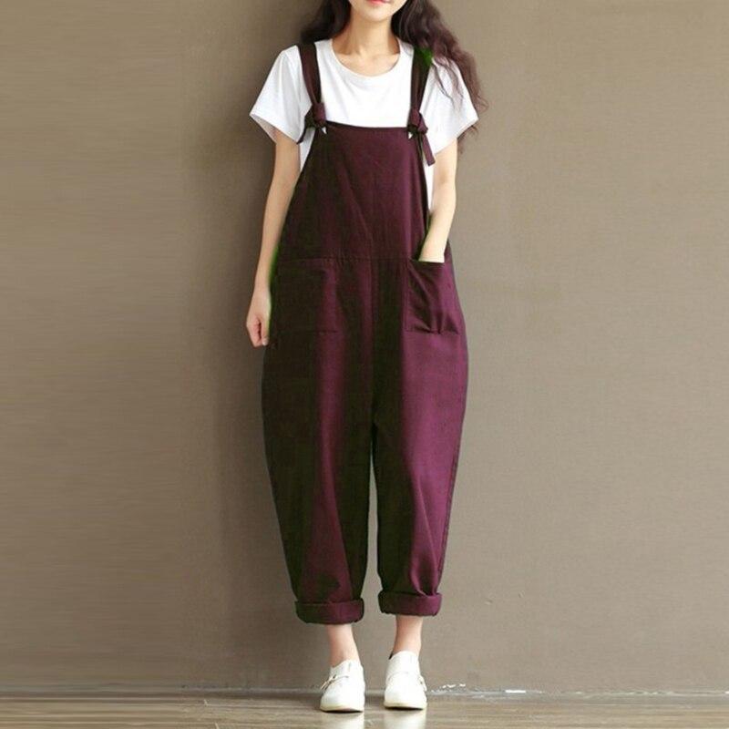 plus size Women jumpsuits 2018 Casual Loose Linen Cotton Pants Jumpsuit Strap Harem Trousers Overalls