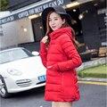 2016 Moda Mulheres Jaqueta de Inverno Moda Gola De Pele Parka Mulheres Casaco Acolchoado Com Capuz Fino DownCotton Jaqueta A044