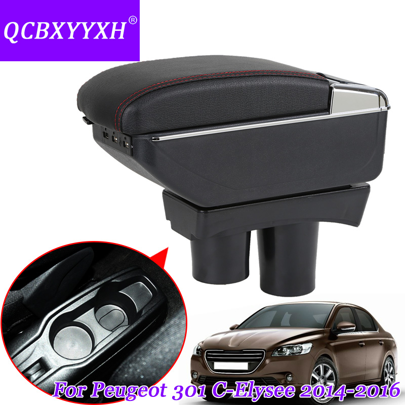 QCBXYYXH Car Armrest Case For Citroen C-elysee Peugeot 301 2014-2016 Armrest Central Store Storage Box With Cup Holder Ashtray pu for citroen c elysee peugeot 301 2014 2016 armrest central store content storage box with cup holder ashtray accessories