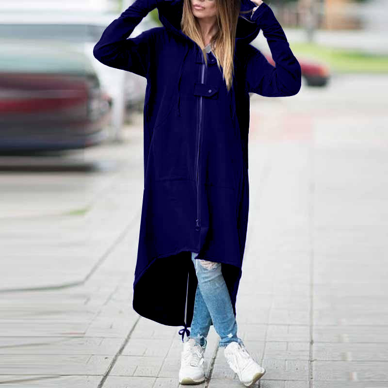 2019 Fashion Long Sleeve Hooded   Trench   Coat Zippers Solid Zipper Velvet Long Coat Women Plus Size 5Xl Loose Overcoat Clothes