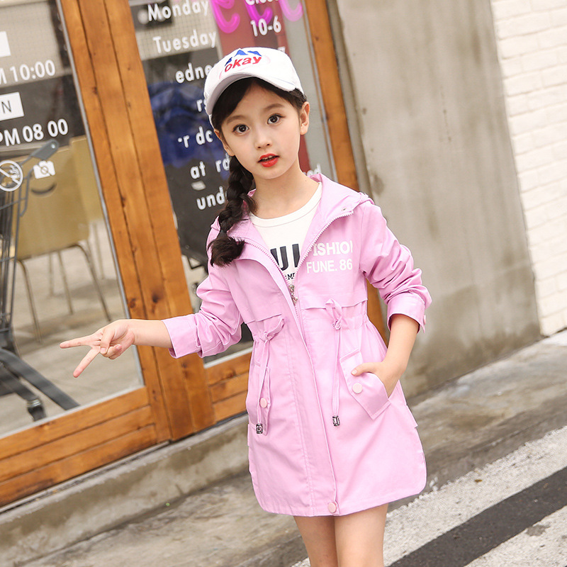 Image 2 - Children Clothing Baby Girls Clothing 2018 Spring and Autumn New Leisure Girls Coat Letter Movement, Hooded WindbreakerJackets & Coats   -