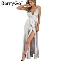 BerryGo Elegant Backless Satin Long Dress Women Evening Summer Dress Party Sexy Black Red Maxi Dresses