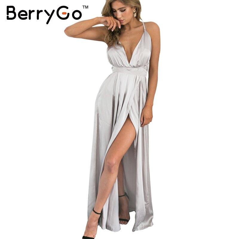 Berrygo elegante backless satin longo maxi dress mulheres noite de verão dress partido sexy preto vermelho vestidos vestidos pijamas