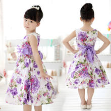 Child Baby Girls Kids Clothes Summer Sleeveless Princess Wedding Party Purple Flower Bow Gown Full Dresses 2 4 6 7 8 9 10 Years(China)