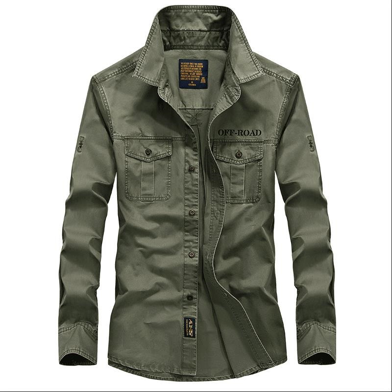 Chemise homme chemise homme manches longues style militaire couleur pure chemise grande taille