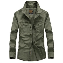 Mens shirt mens long sleeved military style pure color large size