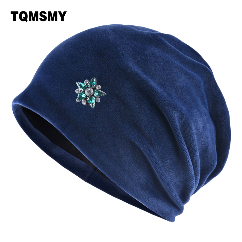 465646824d75d Rhinestone pentagram hats for women Velvet beanie Double Layer Skullies  Turban cap autumn girls bonnet winter hats women s gorro-in Skullies    Beanies from ...