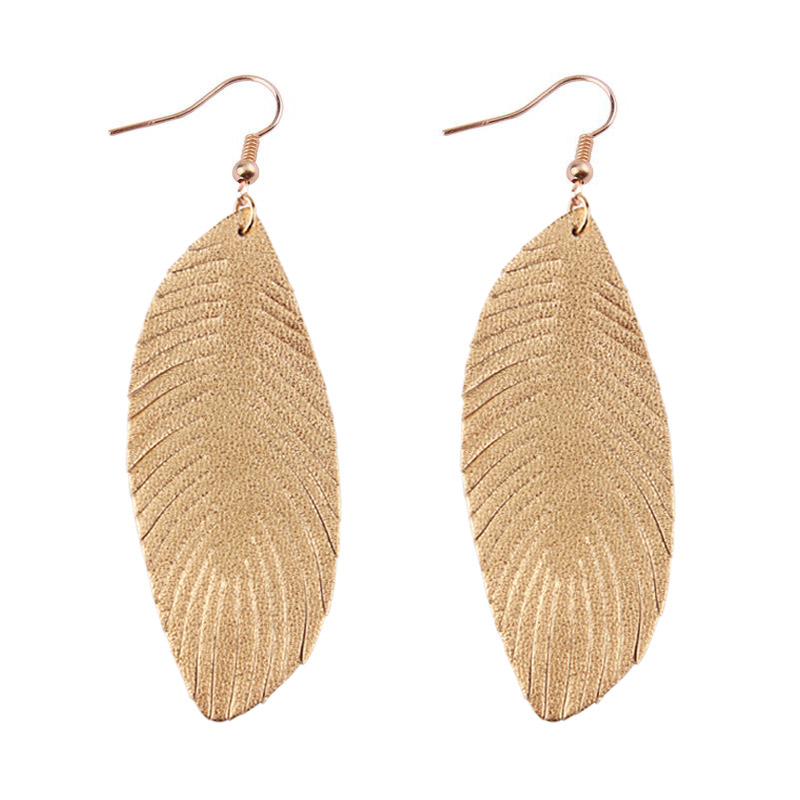 d8e20d41ea ZWPON 2019 New Feather 100% Soft Genuine Leather Earrings for Women ...