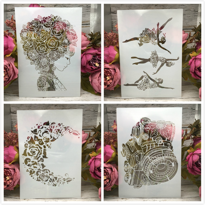 4Pcs/Lot A4 Hairy Girl Ballet Moon DIY Layering Stencils Painting Scrapbook Coloring Embossing Album Decorative Card Template