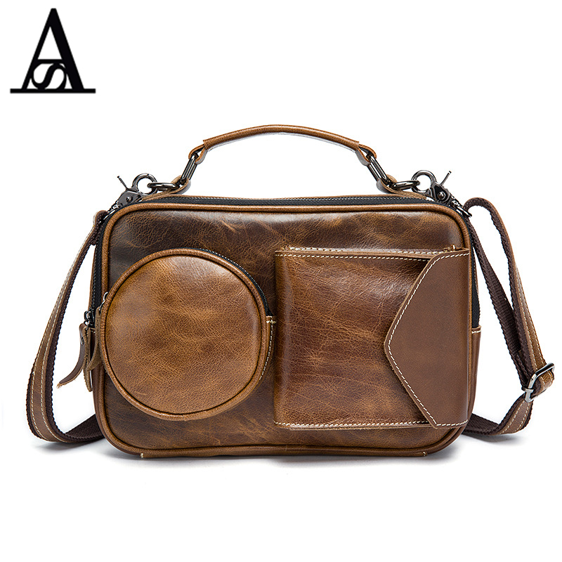 ФОТО Aitesen Vintage Men's Bags Genuine Leather Casual Handbags Messenger Men Crossbody Bag Small Tote Briefcase Bags for Man