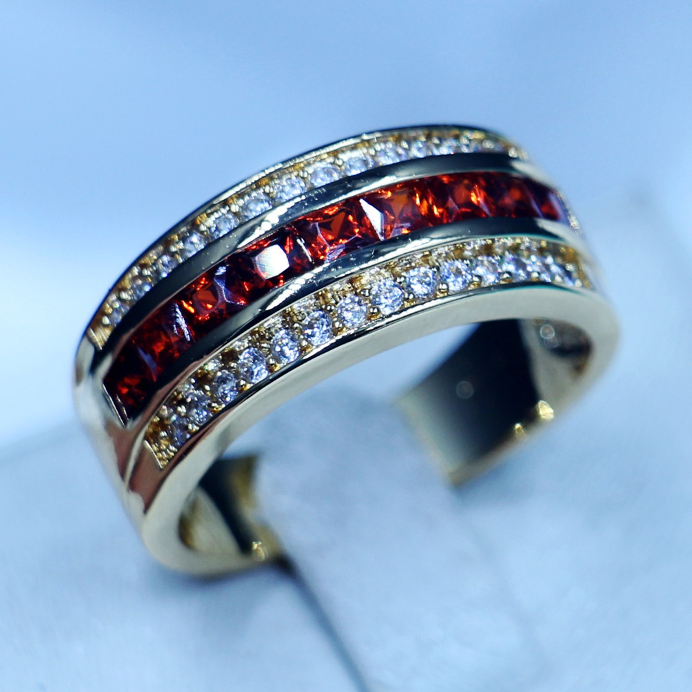 3 colors round male band ring garnet 5a zircon stone party wedding band ring for men