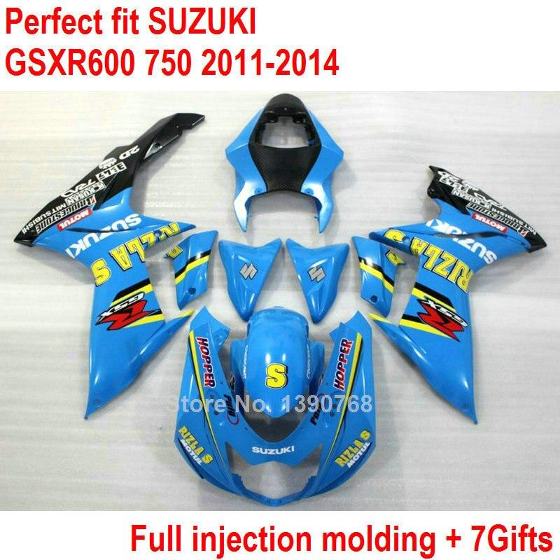 Fairing kit for Suzuki GSXR 600 750 11 12 13 14 blue fairings set GSXR600 GSXR750 2011 2012 2013 2014 injection molding