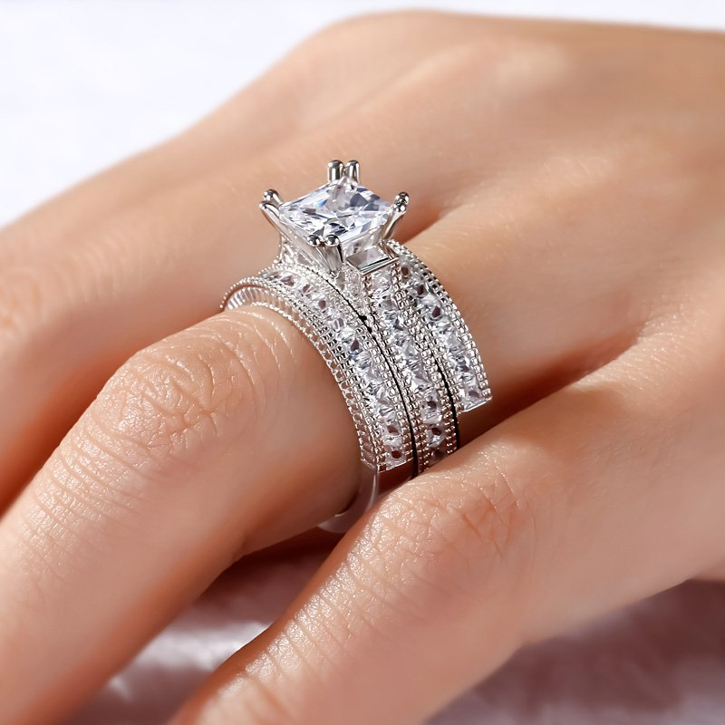 Luxury Princess-cut Simulated Diamond Rings Sets 3-in-1 Engagement Wedding Ring Finger For Women 14K White Gold Plated Jewelry