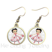 2018 Lovely Romance Betty Boop Series Pattern 16mm Round Glass Cabochon Handmade Dangle Earrings For Glamorous women Girls Gift(China)