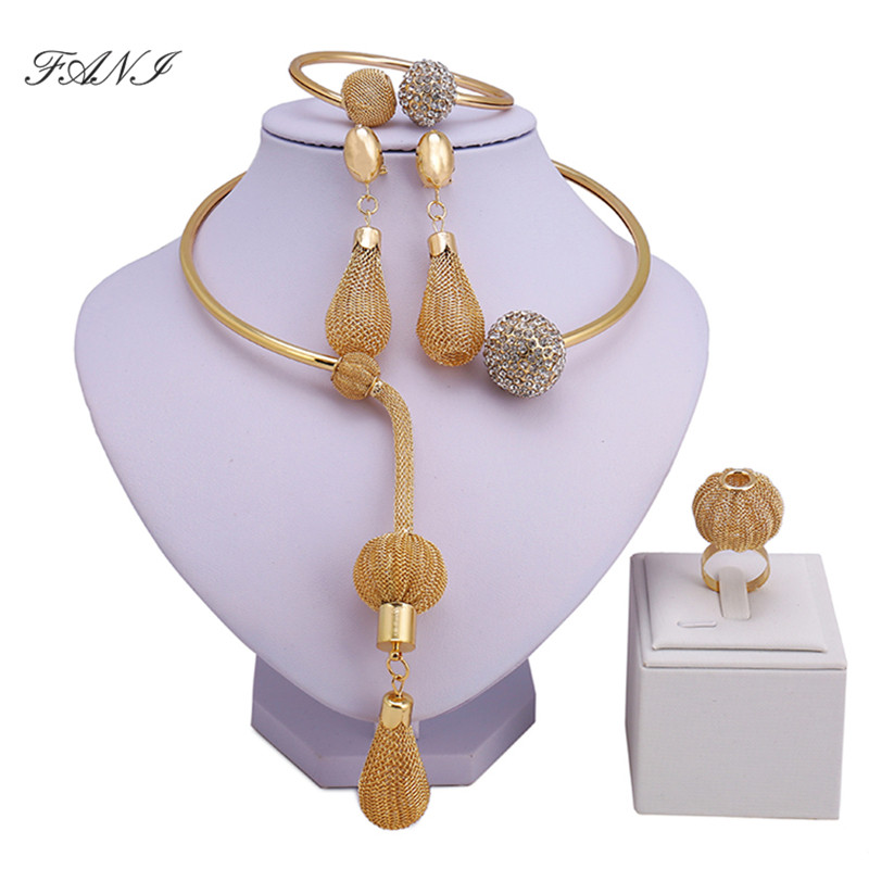 Fani Dubai Gold-color Jewelry Sets Costume Design Brand Nigerian Wedding Jewelry Set Fashion African Beads Jewelry Sets Women
