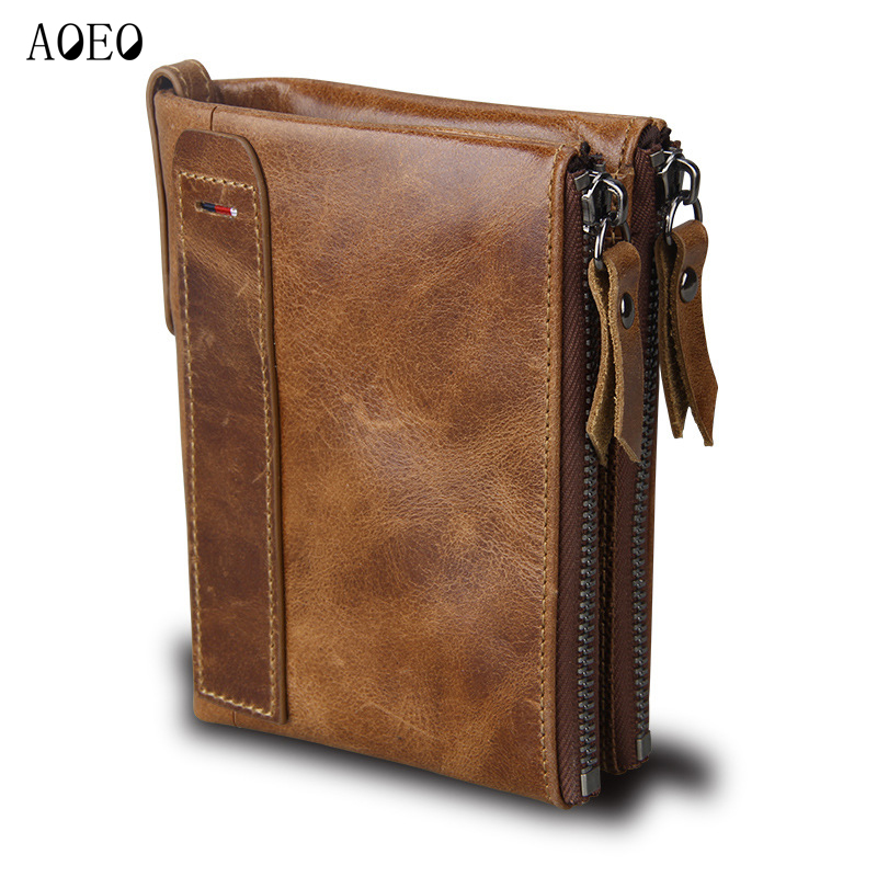 AOEO Genuine Leather Wallet Men Purse Money Male Clutch Card Holder Double Coin Bags Man Slim Small Pocket Luxury Wallet for Men