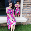 Famli 1pc Mother Daughter Flower Dresses 2017 Family Mom Baby Kids Matching Summer Sleeveless Fashion Floral Dress Outfits Set