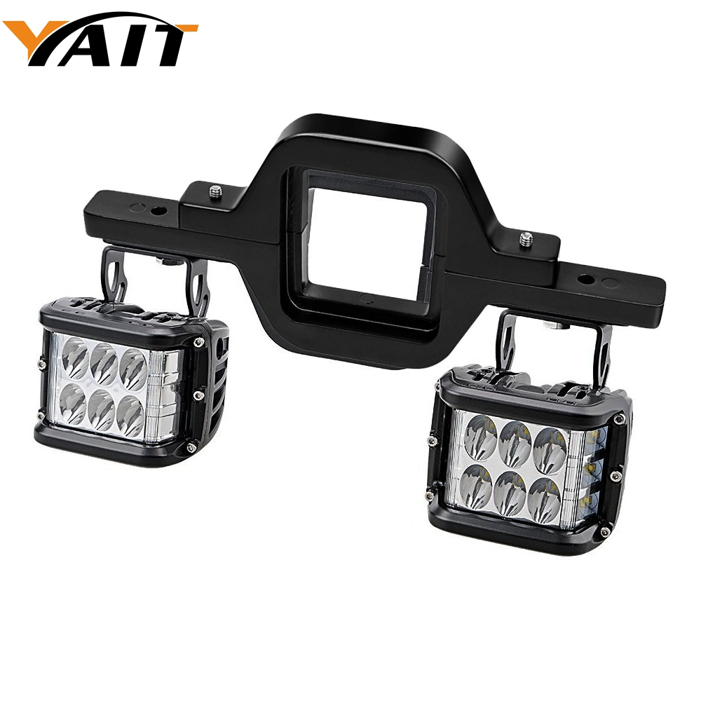 Yait Left Right Pair 72W LED Cube Off Road Work Lights Tow Hitch Mounting Bracket for