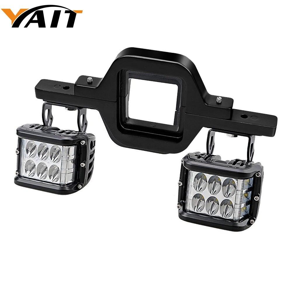 Yait paire gauche et droite 72 W LED Cube feux de travail tout-terrain + crochet de remorquage support de montage pour Jeep Truck 4x4 remorque RV SUV