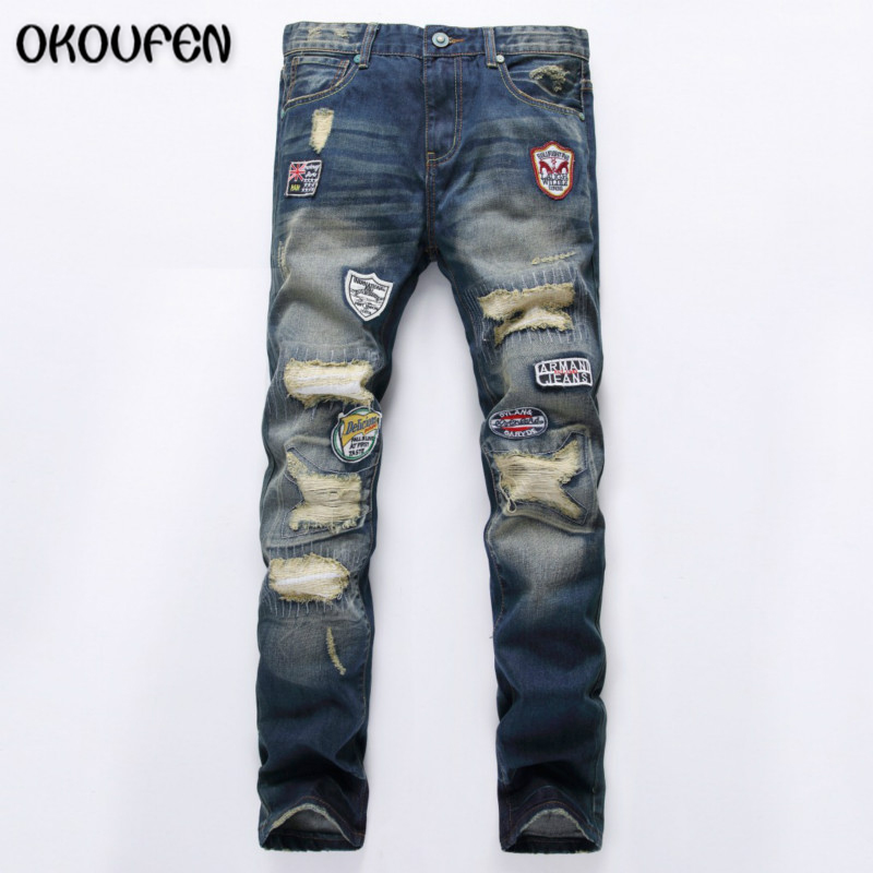 ФОТО Brand  Jeans Men Personality Popular Clothing Style Hole Patch Jeans Fashion Men Straight Beggar Trousers Blue NZK24