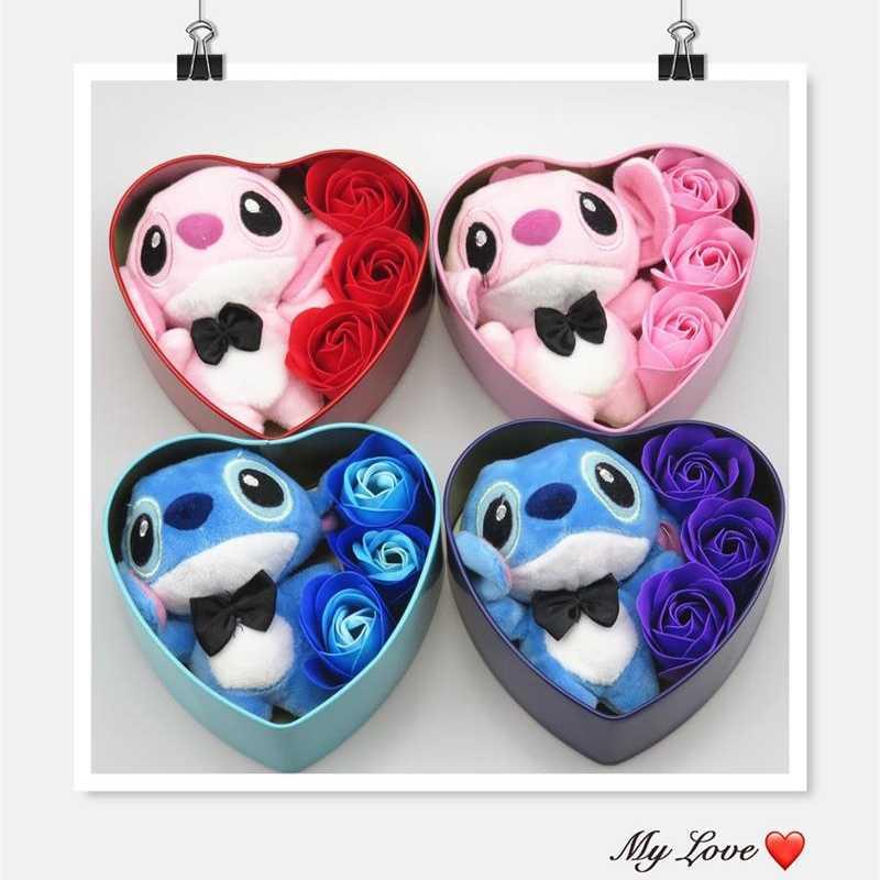 Fatti a Mano Bella Stitch Peluche Giocattoli con Fiori di Sapone a Forma di Cuore Scatola Regalo Creativo di San Valentino E di Compleanno per Le Ragazze