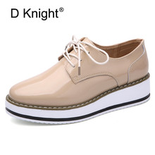 Fashion Patent Leather Ladies Casual Platform Wedges Shoes New Vintage Lace Up Women Oxford Shoes High Quliaty Girls Wedge Shoes hanbaidi real leather 50 80mm platform oxford women shoes lace up flats top high quality leather casual shoes sneaker women 40