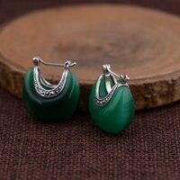 925 Bạc Bông Tai Màu Trắng Opal Đá Màu Xanh Lá Cây S925 Sterling Silver boucle d' oreille Nước Drop Earrings Phụ Nữ Jewelry