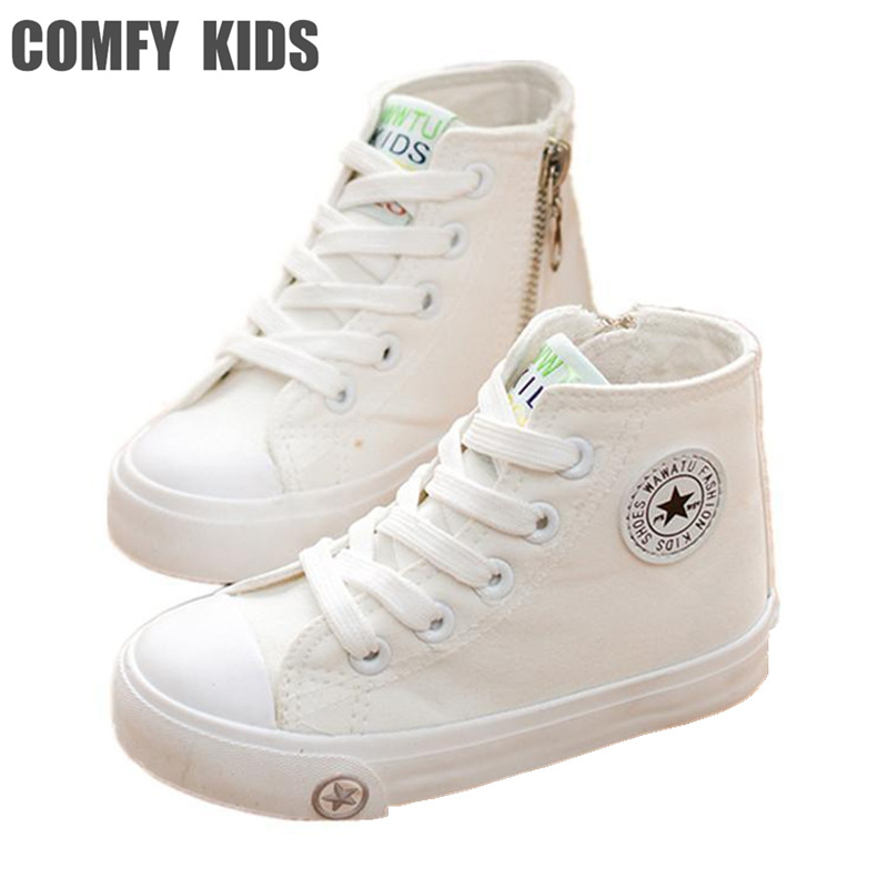 Comfy kids 2016 new fashion causal child canvas shoes flat with size 25-36 child sneakers shoes for girls boys sneakers canvas