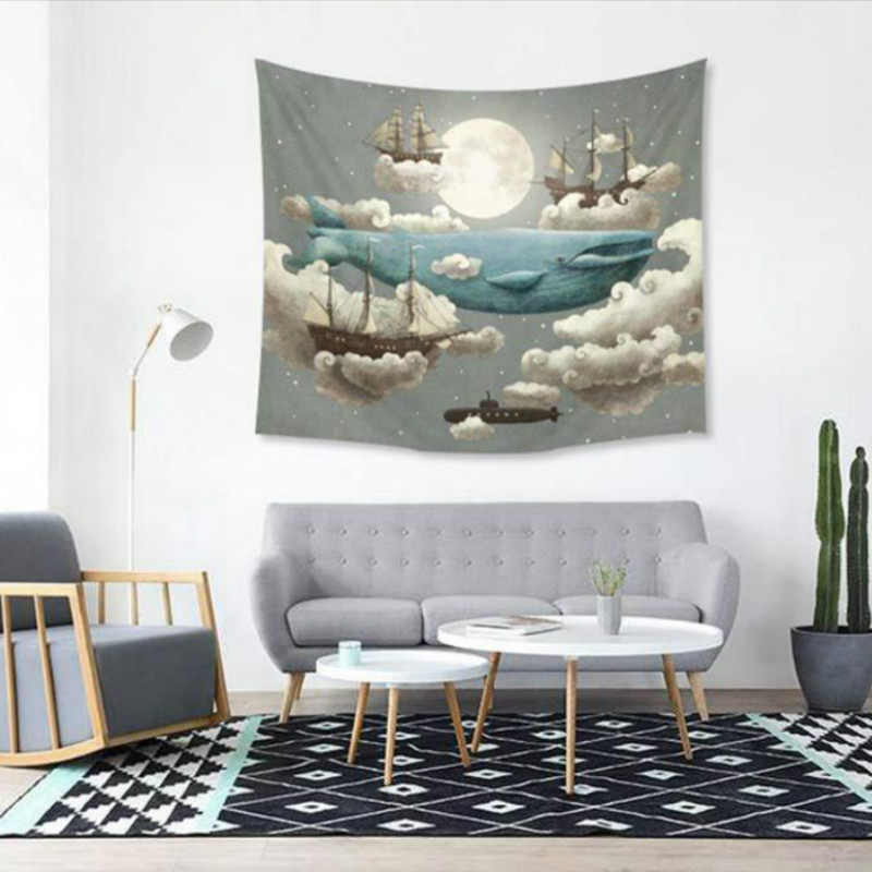 Image 4 - Psychedelic Tapestry Wall Hanging Cartoon Elephant Sun Moon College Dorm Decor Geometric World Map Beach Towel Background Cloth-in Tapestry from Home & Garden