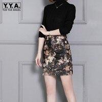 Vantage Fashion Floral Printed Design Genuine Leather Skirts Mini Pencil Skirt Sheepskin Bottom Free Ship High Waist Wrap